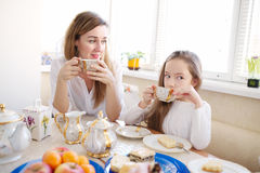Family has breakfast in the morning Royalty Free Stock Images