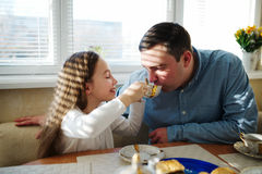 Family has breakfast in the morning Stock Photo