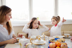 Family has breakfast in the morning Stock Photography