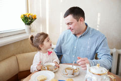 Family has breakfast in the morning Royalty Free Stock Image