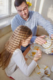 Family has breakfast in the morning Stock Image