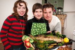 The family has prepared for a supper. Stock Photography