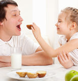 Family have a breakfast Royalty Free Stock Images