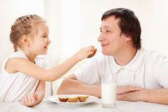 Family have a breakfast Stock Photography