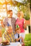 Family have fun time celebrating. Birthday royalty free stock photo