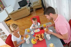 Family have healthy breakfast at home Royalty Free Stock Image