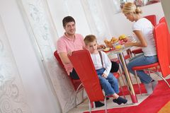 Family have healthy breakfast at home Royalty Free Stock Photo