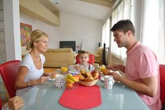 Family have healthy breakfast at home Stock Photo