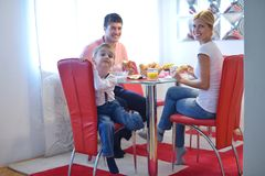 Family have healthy breakfast at home Royalty Free Stock Photos