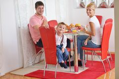 Family have healthy breakfast at home Stock Photography