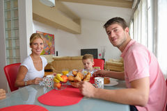 Family have healthy breakfast at home Stock Photos