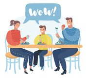 Family have a lunch. Father, mother and son sitting in the kitchen and having a meal together. stock illustration