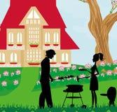 Family having barbecue in the garden Stock Image