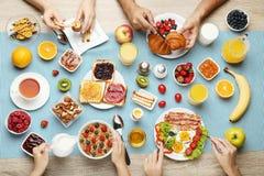 Family having breakfast stock photo