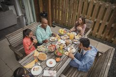 Family Having Breakfast at Holiday Cottage Royalty Free Stock Images
