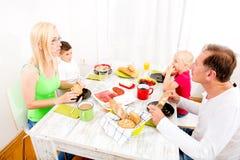Family having breakfast Stock Images