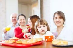 Family having breakfast at home Royalty Free Stock Photo