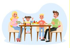 Family having breakfast at the kitchen table. Happy parents. And children eat together. Father and mom, son and daughter on the lunch or dinner. Vector vector illustration