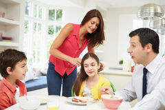 Family Having Breakfast Before Work Stock Photography
