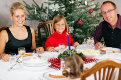 Family having Christmas Dinner Stock Photo