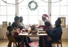 Family having a Christmas dinner Royalty Free Stock Photos