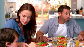 Family having dinner together stock footage