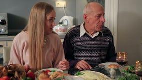 Family having dinner together on Thanksgiving stock video