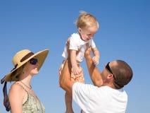 Family having fan at the beach Royalty Free Stock Image
