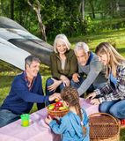 Family Having Fruits At Campsite Stock Photography