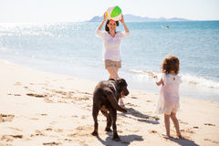 Family having fun at the beach. Beautiful mother playing ball with her daughter and dog at the beach on a sunny day Stock Image