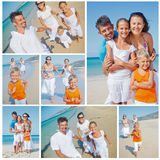 Family having fun on beach. Collage of images happy family running down the beach on summer Royalty Free Stock Photos