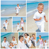 Family having fun on beach. Collage of images happy family running down the beach on summer Royalty Free Stock Image