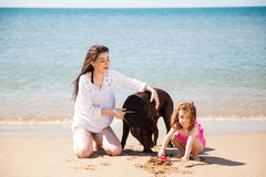 Family having fun at the beach. Cute young women spending the day at the beach with her daughter and her dog Stock Photos