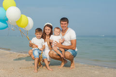 Family having fun on the beach Royalty Free Stock Images