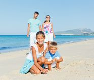 Family having fun on beach Royalty Free Stock Photography