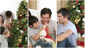 Family having fun at Christmas Royalty Free Stock Image