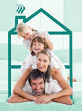 Family having fun doing a piggyback stock photos