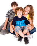 Family having fun on the floor Stock Images