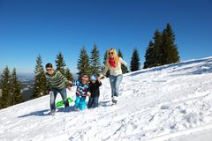 Family having fun on fresh snow at winter Stock Photo
