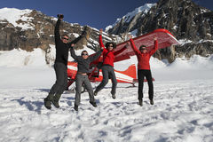 Family is having fun on glacier Stock Photos