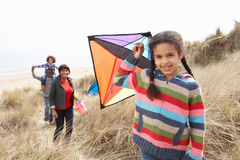 Family Having Fun With Kite In Sand Dunes. At Camera Stock Images