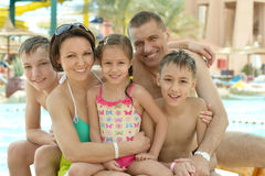 Family having fun near pool Stock Image