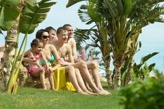 Family having fun near pool Royalty Free Stock Photo