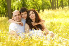 Family having fun outdoors Royalty Free Stock Images