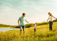 Family having fun outdoors Royalty Free Stock Photos