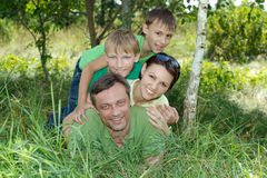 Family having fun outdoors Stock Images