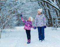Family having fun, playing and laughing on snowy winter walk in nature. stock images