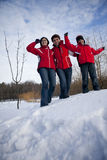 Family is having fun in the snow Stock Photography