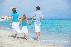 Family having fun on tropical beach Royalty Free Stock Photo