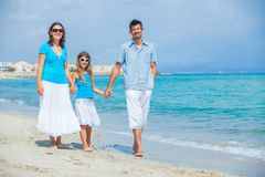 Family having fun on tropical beach Royalty Free Stock Photography